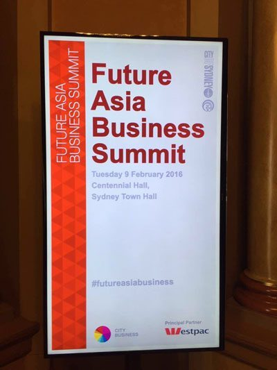 Future Asia Business Summit. Sydney. 9 February 2016.